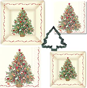 Christmas Disposable Holiday Party Plates and Napkin Bundle for 16 Guests: Dinner & Dessert Plates, Luncheon & Cocktail Napkins, Cookie Cutter + Bonus Recipe (Christmas Tree)