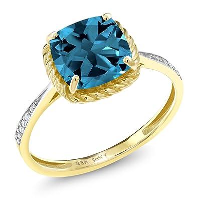 0143868c359f Gem Stone King 2.80 Ct Cushion London Blue Topaz White Diamond 14K Yellow  Gold Engagement Ring