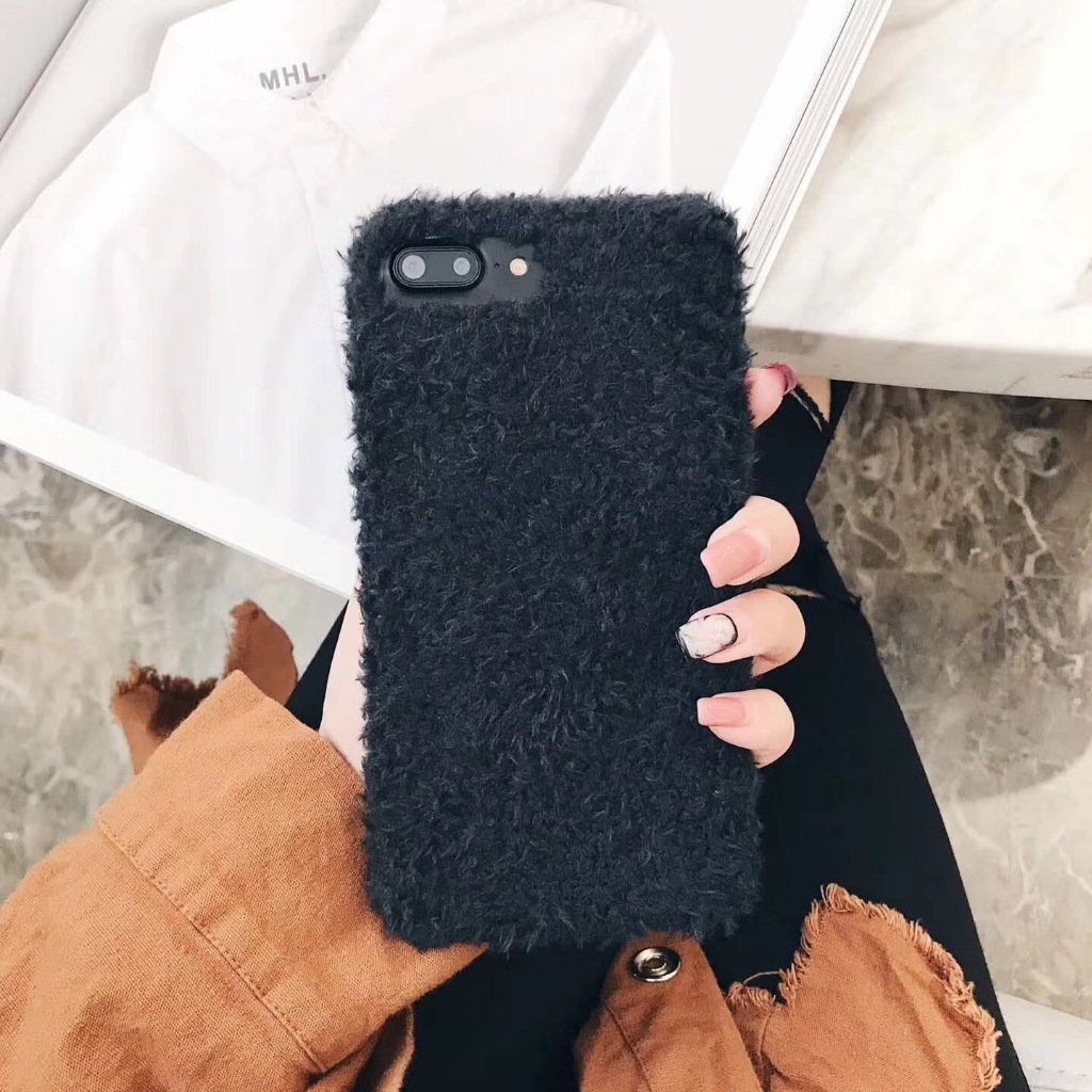 iPhone 8 Plus Cute Case, iPhone 7 Plus Case Warm, iPhone 7 Plus Phone Case Winter, iPhone 8 Plus Girly Case, Felfy Novelty Plush 3D Cloth Handmade Cute Cover Soft Fur Silky Warm Full Case Fits for Winter Anti-Scratch and Drop Pritection Case for iPhone 7 P
