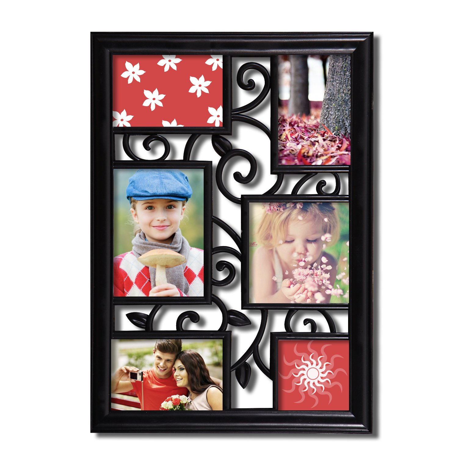 Adeco 6 Opening Decorative Black Filigree Wall Hanging Picture Frame - Made to Display Three 4x6, One 4x4, One 5x7, and One 5.5x5.5 Photo PF0471