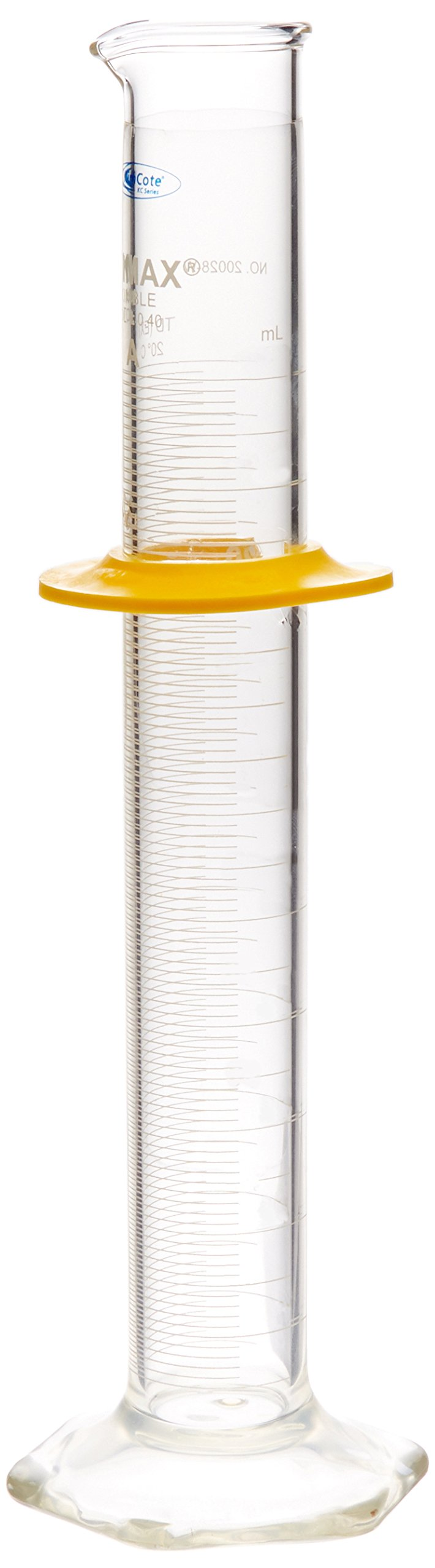 Kimble KC20028W-100 Class A KimCote Graduated Cylinder with Bumper Guard, Borosilicate Glass, Calibrated To Deliver, 100mL Capacity