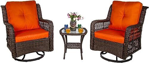 W WARMHOL 3-Piece Patio Rocking Chairs Wicker Bistro Set Cushioned