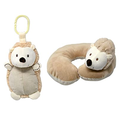 "Kelly Baby 8"" Plush Cuddle Hedgehog Baby Pram Toy with Rattle with Baby Neck Pillow: Toys & Games"