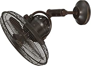 Outdoor Wall Mount Fan by by Craftmade BW414AG3 Bellows IV 16 Inch Patio Fans Oscillating with Wall Control, Aged Bronze