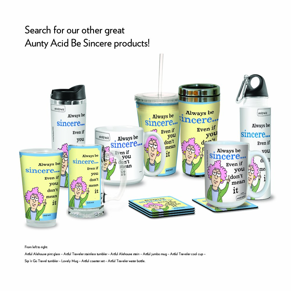 Tree-Free Greetings VB47888 Aunty Acid Artful Traveler Stainless Steel Water Bottle Be Sincere Tree Free 18-Ounce