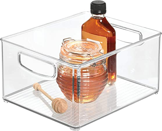 iDesign Caja transparente para el frigorífico, organizador de cocina grande y profundo de plástico, organizador de nevera con asas y sin tapa, transparente: Amazon.es: Hogar