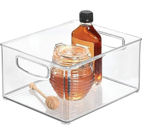 iDesign Caja transparente con asas, organizador de cocina extragrande de plástico, caja organizadora sin tapa para los armarios o el frigorífico, transparente: Amazon.es: Hogar