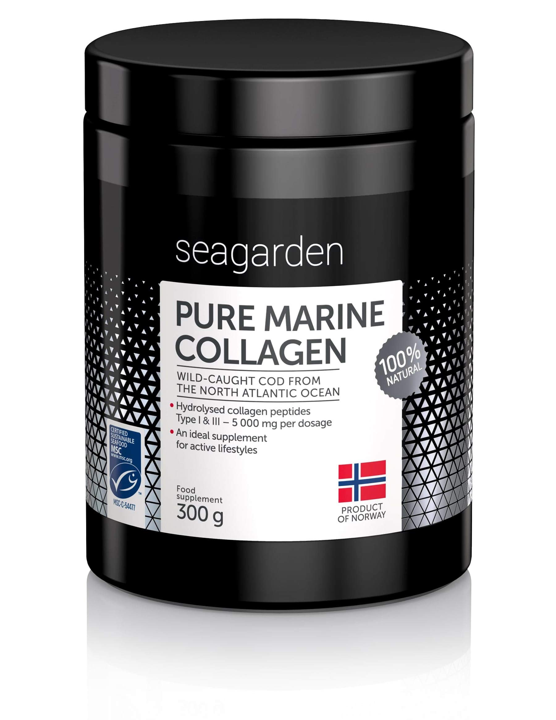 Norwegian Pure Marine Collagen Powder I Wild-Caught Fish from North Atlantic Ocean I 2-Months Supply I Hydrolysate Peptides | Supplement for Skin, Hair, Nails, Tendons, Ligaments |100% Natural I 300 g