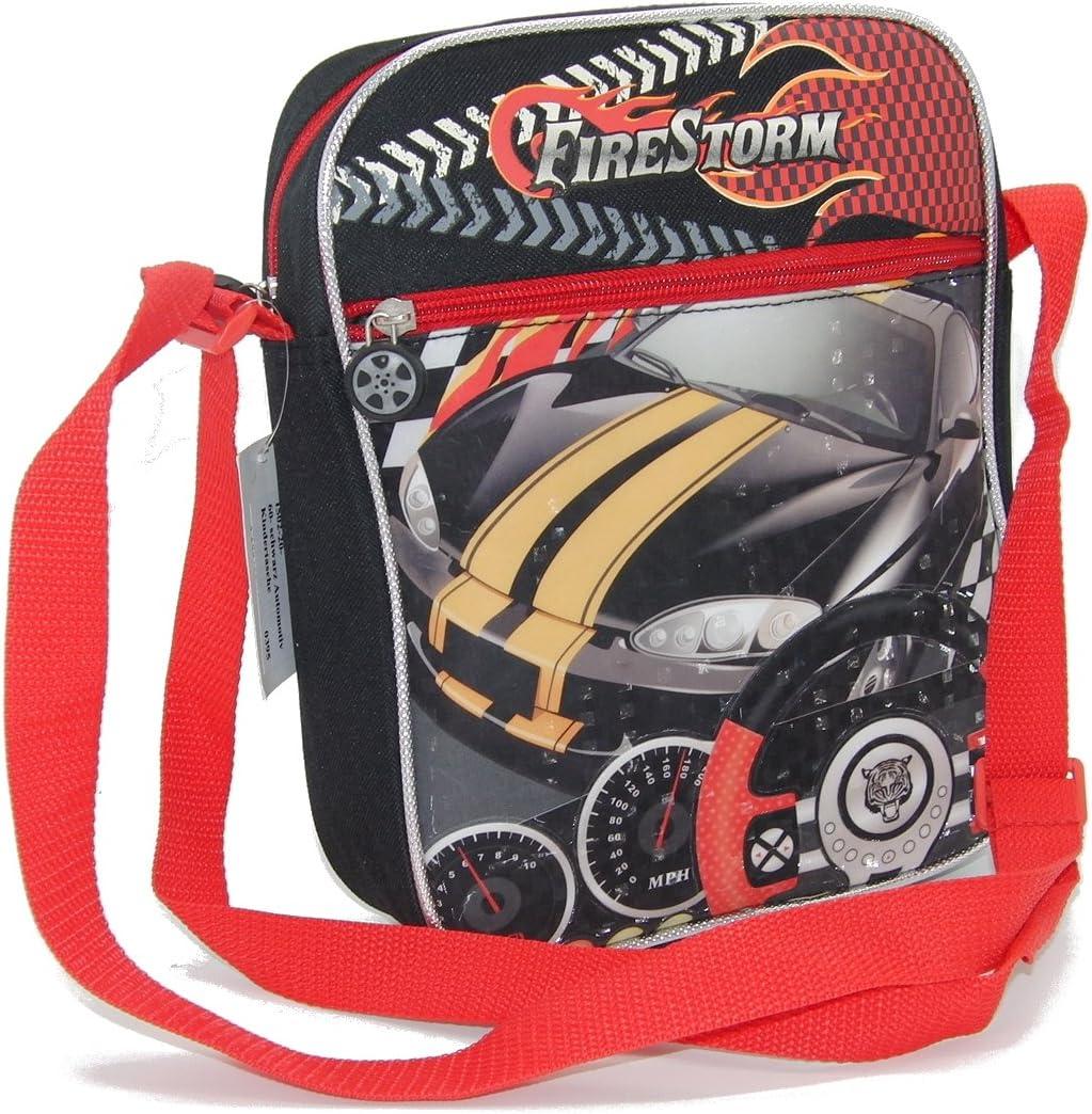 STEFANO - Maleta de viaje con ruedas para niños (4 piezas) Set de coche de carreras o para mujeres pequeñas Negro M2 - Bolso bandolera Maße ca. 20 x 25 x 5 cm