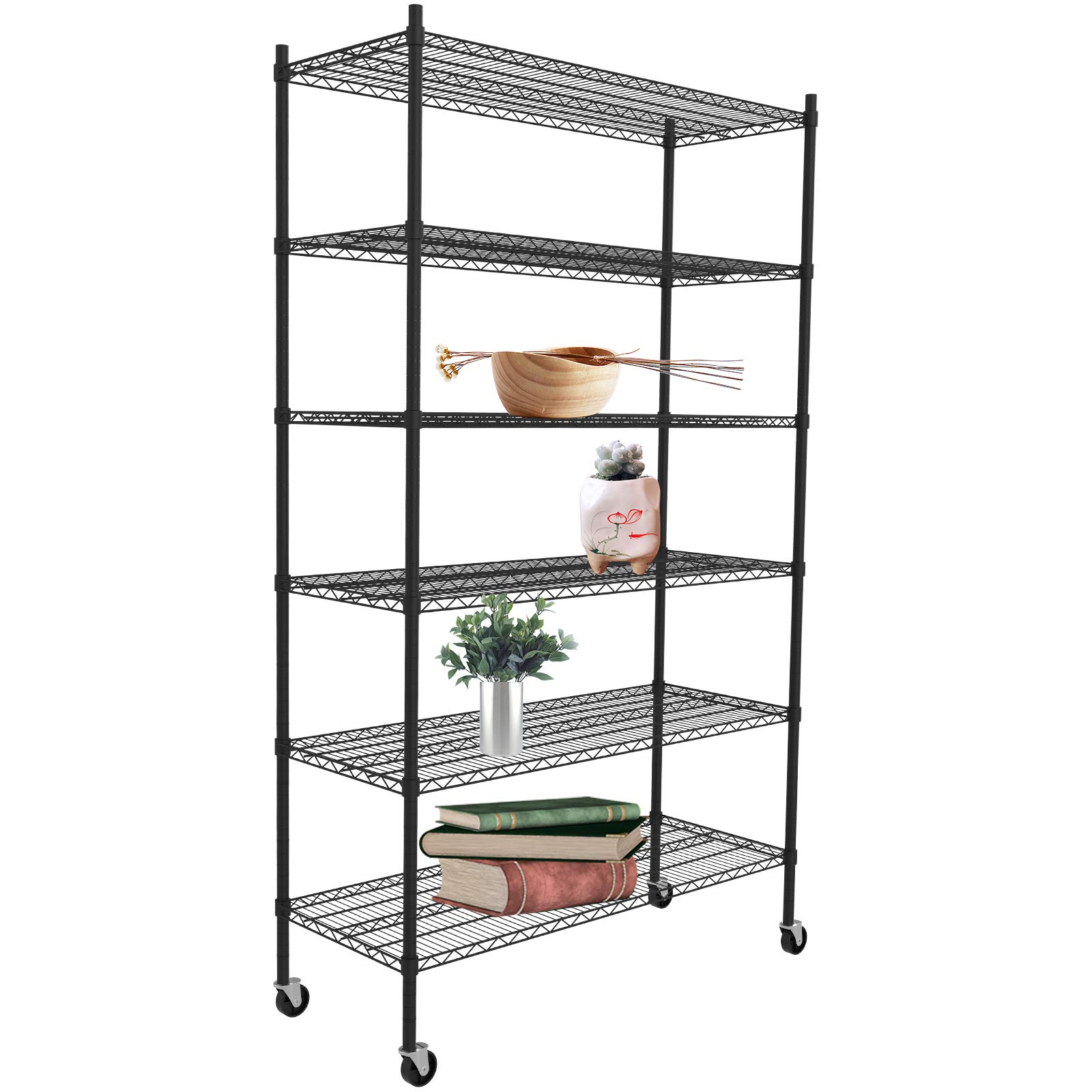 SUNCOO 6 Tier 82''H Strengthen Steel Utility Shelf Metal Organizer Wire Rack Shelfing Storge Unit with Stiffeners Wire Shelves with wheels Home Kitchen Office Garage by SUNCOO
