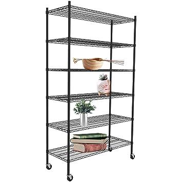 SUNCOO Wire Shelf Unit with Stiffeners Storage Strengthen Steel Shelves  with Wheels Metal Organizer Wire Racks Kitchen Home Office Garage 6 Tier  46\