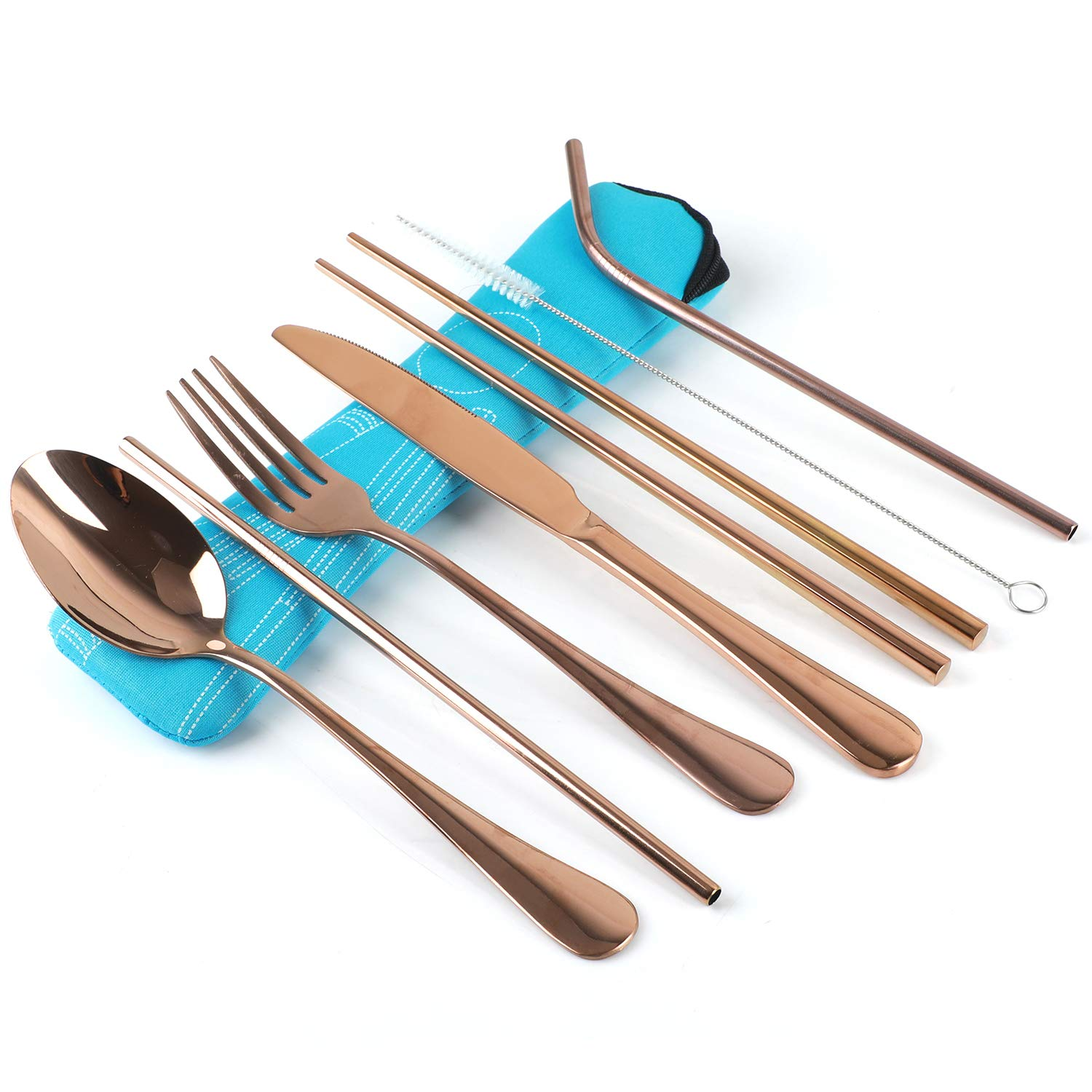 Stainless Steel Flatware Set Reusable Cutlery Set Travel Utensils Set with Straws for Camping Office or School Lunch,Dishwasher Safe Black