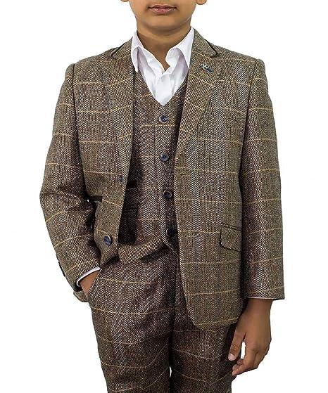 955bd750d Cavani Boys Albert 3 Piece Suits Check Tweed Regular Fit Blazer Brown  Check: Amazon.co.uk: Clothing
