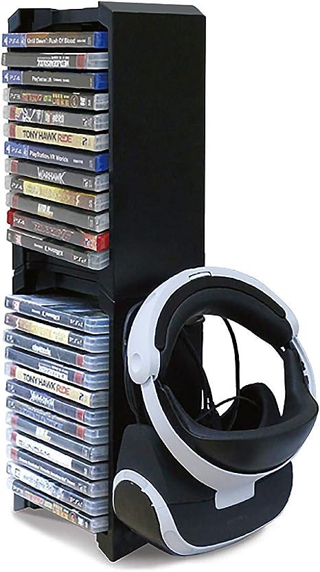 PS4 Game Storage Tower - Universal Games Storage Tower - PS4 y Xbox One Game Storage Rack almacena 24 juegos o Blu-Rays y gafas PS4 VR: Amazon.es: Videojuegos