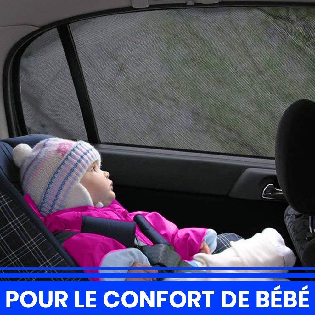 2PCS Pare-Soleil Fen/êtres de Voiture Protection Solaire Anti UV pour B/éb/é Enfant et Animaux Confortable et Respirant Installation Facile