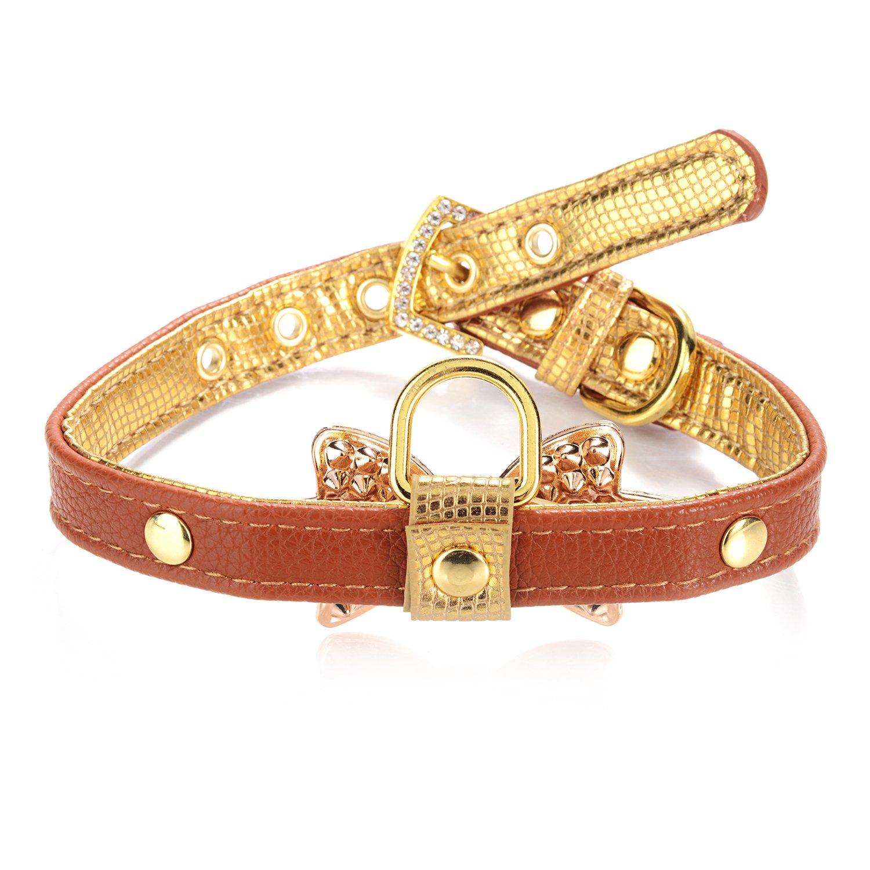 LOVPE oro con strass brillantini in pelle moda collare con anello per targhette per cani di piccola taglia, regolabile collari per Puppy