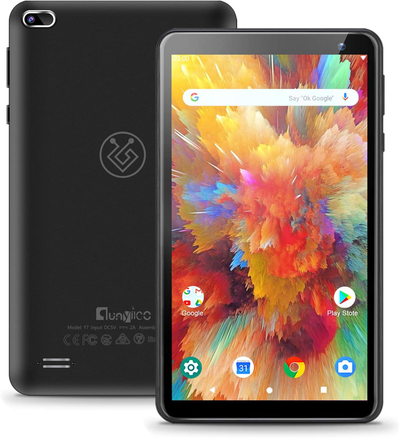 7 inch Android 10.0 Tablet qunyiCO Y7, 2GB RAM 32GB Storage, Dual Camera Quad-Core 1024 x 600 IPS HD Display Screen Bluetooth Wi-Fi Only, Google GMS Certified 3000mAh Black