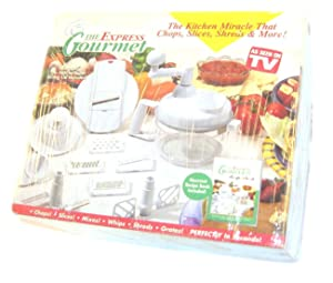 Express Gourmet Hand Food Processor Mixer Blender Slicer with Handle White