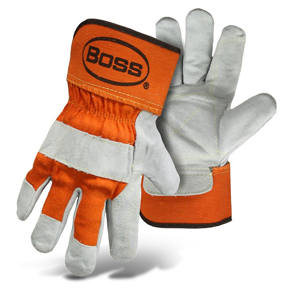Boss Premium Double Split-Leather Palm Work Gloves - Large - Gray/Orange - Large by BOSS (Image #1)