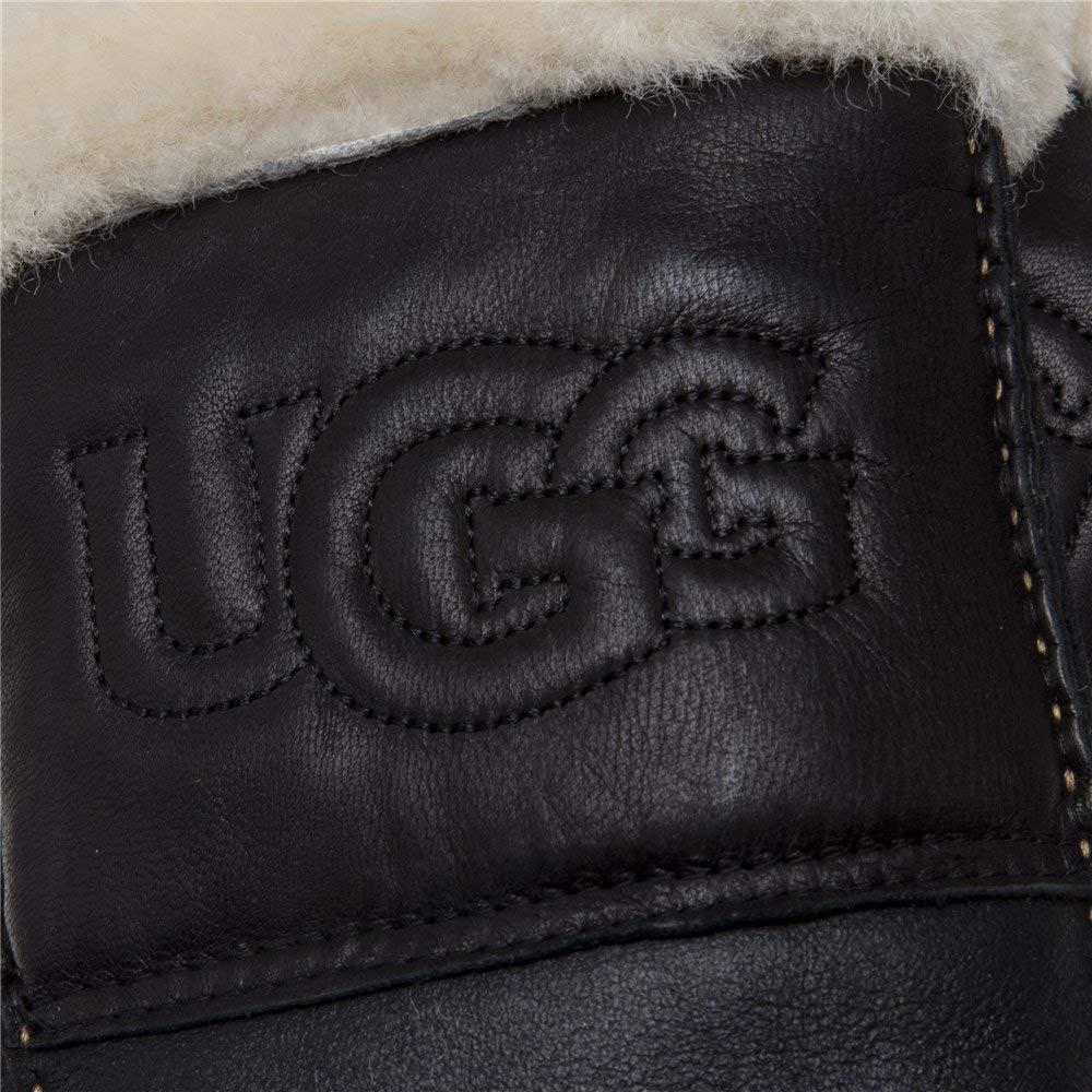 Uggen Gants peau de avec mouton logo noir hdsrCxtQ