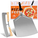 """Extra Large Pizza Peel 16''x13'' and Pizza Cutter Rocker 14"""" - Stainless Steel Pizza Paddle with Folding Handle for Indoor an"""