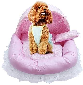 Legendog Sofá para Perro, Cama para Perro Cama De Encaje Decorativa Desmontable Cama para Dormir Lavable para Perro Cama para Mascotas con Almohada M: ...