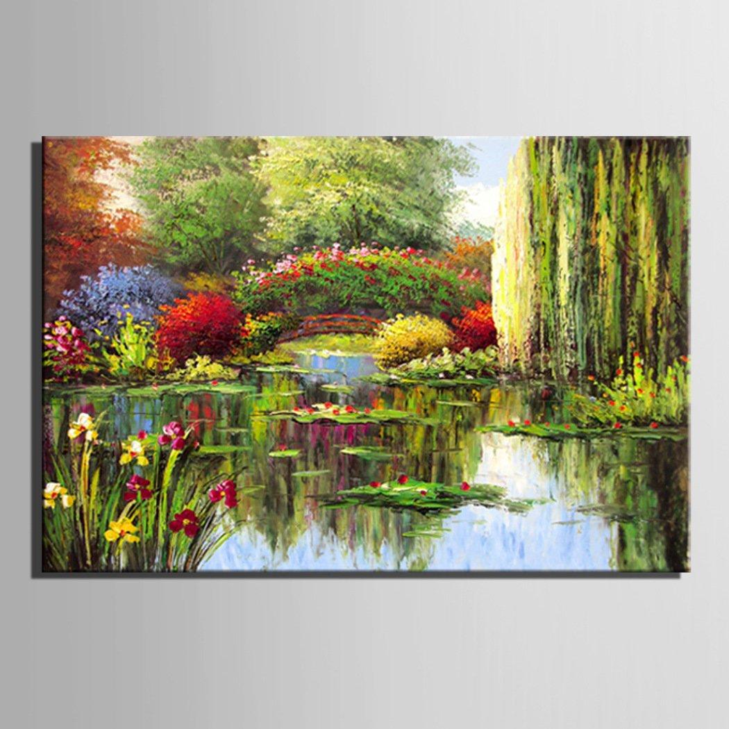 LDONGPENG LD&P 100% Hand Kunst-Ölgemälde Teich Garten Szene Muster ...