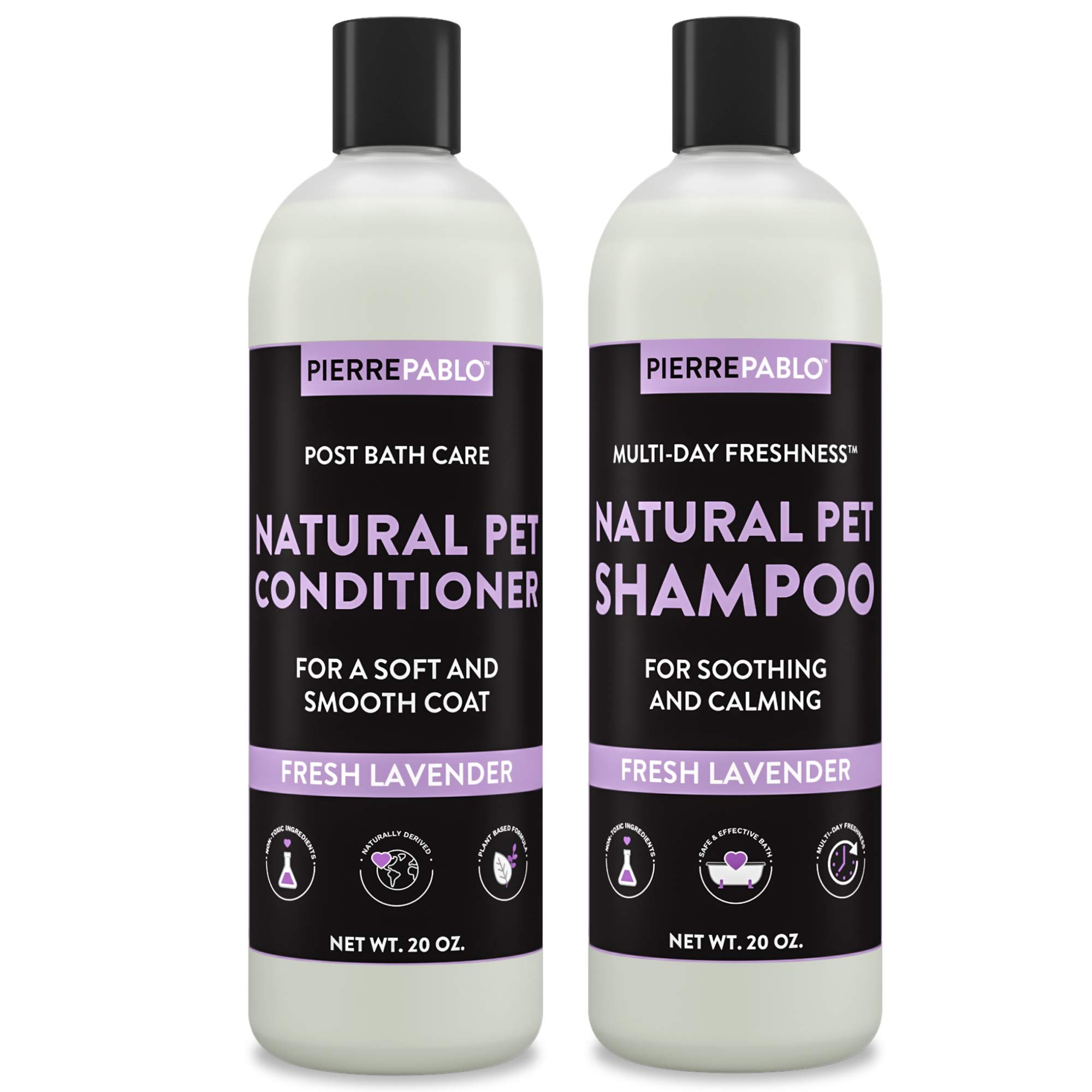 PierrePablo Dog Shampoo and Conditioner Dual Combination Set, Multi-Day Freshness, Lavender Scent, 24 ounces each