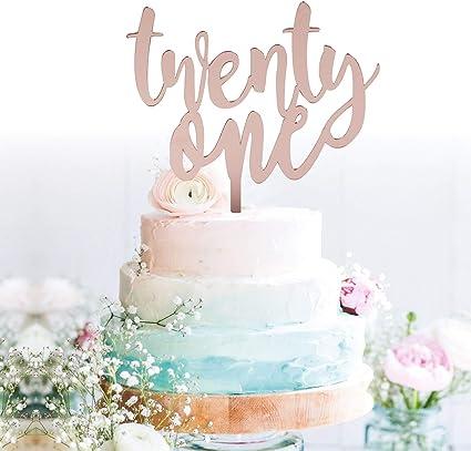 Incredible Amazon Com Grantparty Twenty One Rose Gold Cake Topper 21St Personalised Birthday Cards Veneteletsinfo