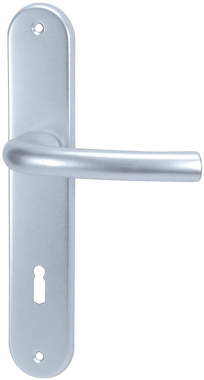 Aluminio Alpertec Monic - LS placa embellecedora larga para puerta de habitació n en anodizado BB picaporte puerta, 72 mm, plata, 40050800K1