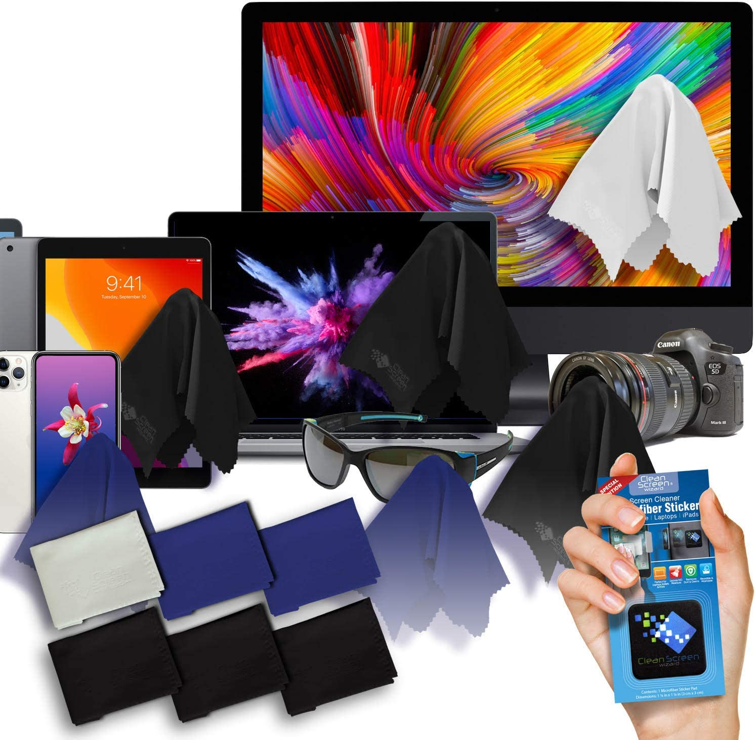 Monitor Cleaning All in One SenseAGE x Ekax Slim Microfiber Cleaning Cloths Screen /& Keyboard Protection Gray Portable /& Washable Lens Smartphone Camera Cleaning for MacBook LCD Screen