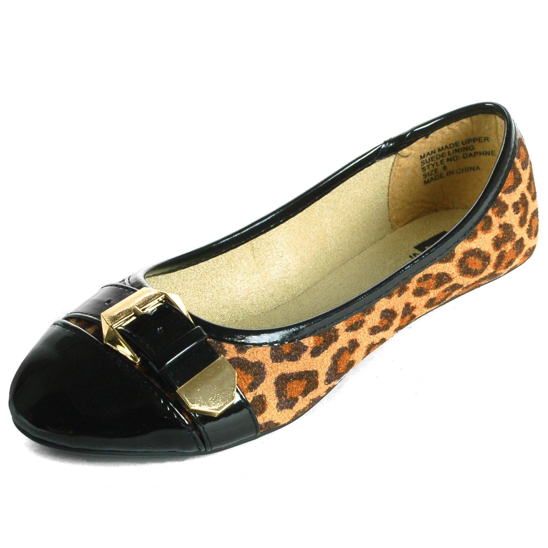 Alpine Swiss Daphne Women's Black Cheetah Print Gold Buckle Cap Toe Flats