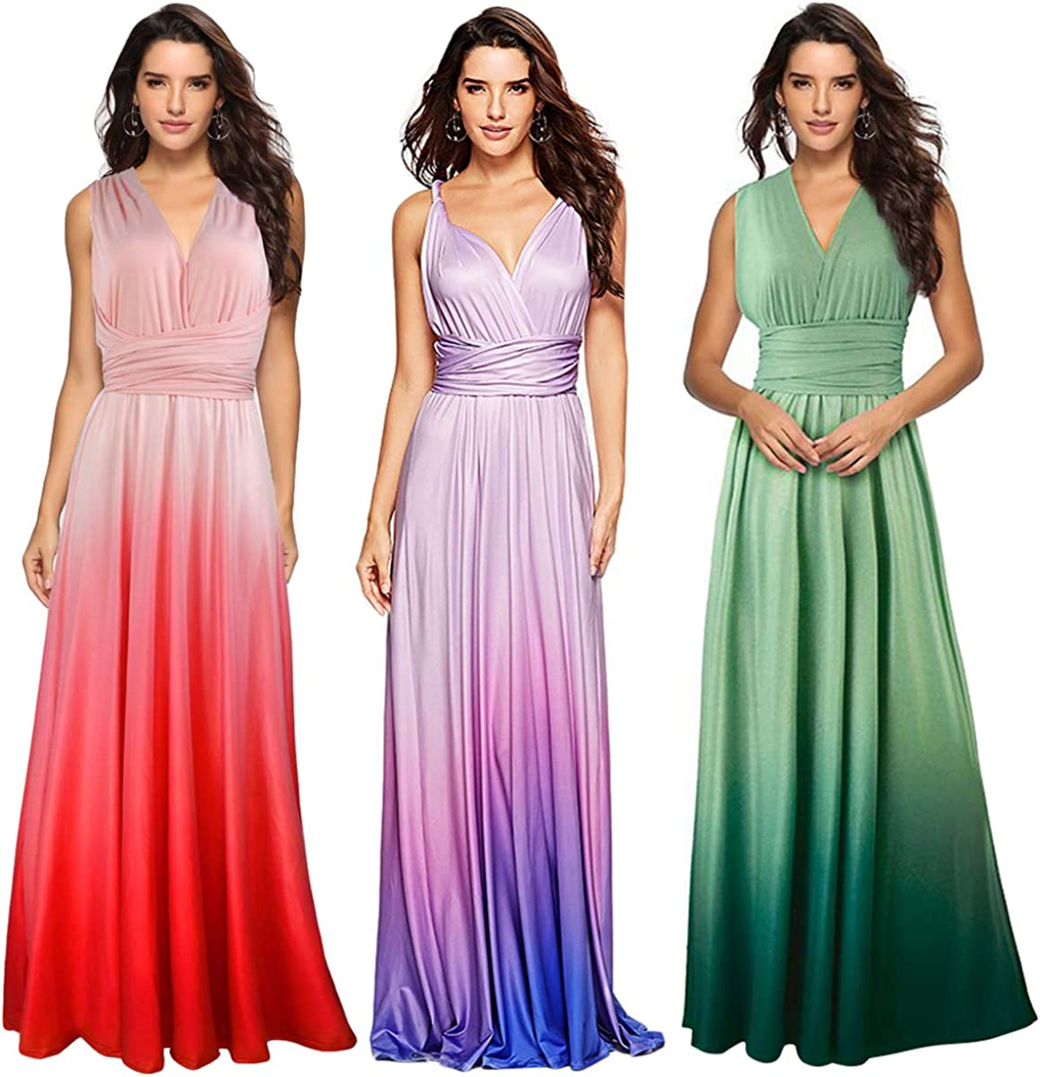 Womens Transformer Casual Gradient Color Deep V Neck Convertible Wrap Multi Way Dress Sleeveless Halter Formal Wedding Party Floor Length Cocktail Gown Long Maxi Dress Gradient Blue X-Large