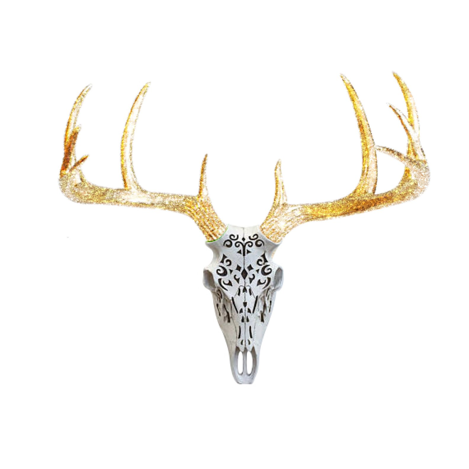 Carved Decorative Deer Skull Animal Head by Wall Charmers | Faux Fake Taxidermy Resin Antlers Mount Decor Fauxidermy Plastic Ceramic Mounted Engraved | White + Gold Glitter Antlers