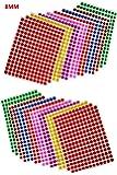 Febbya Pegatinas Redondas Colores,8mm Etiquetas Redondas 16 Hojas Ronda Dot Pegatinas 4160 Puntos para La Oficina,Escuela,Calendarios,Etiquetas Engomadas del Mapa