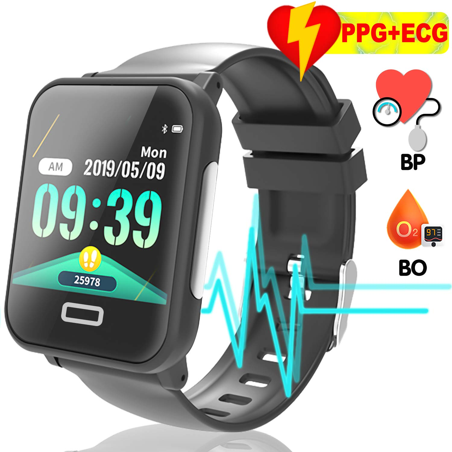 AMENON Upgraded ECG+PPG Fitness Tracker Detects Bradycardia and Tachycardia | Waterproof Smart Watch GPS Tracker for Men Women | Sports Watch Blood ...