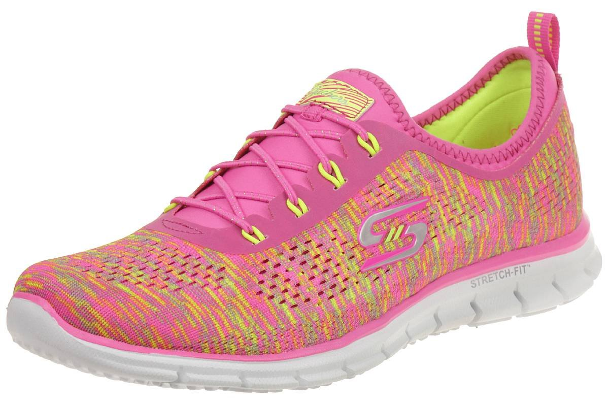 Women's Stretch Fit Glider - Deep Space Training Sneaker Neon Pink/Yellow-NPYL 7 by Skechers