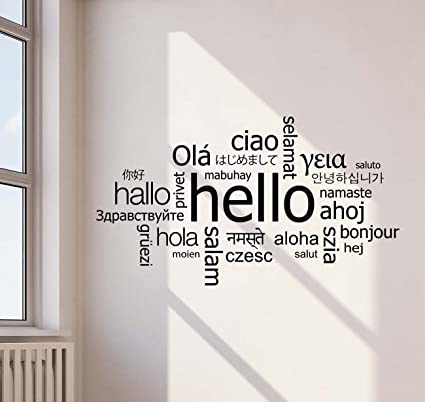 amazon com hello in different languages wall decal welcome sign