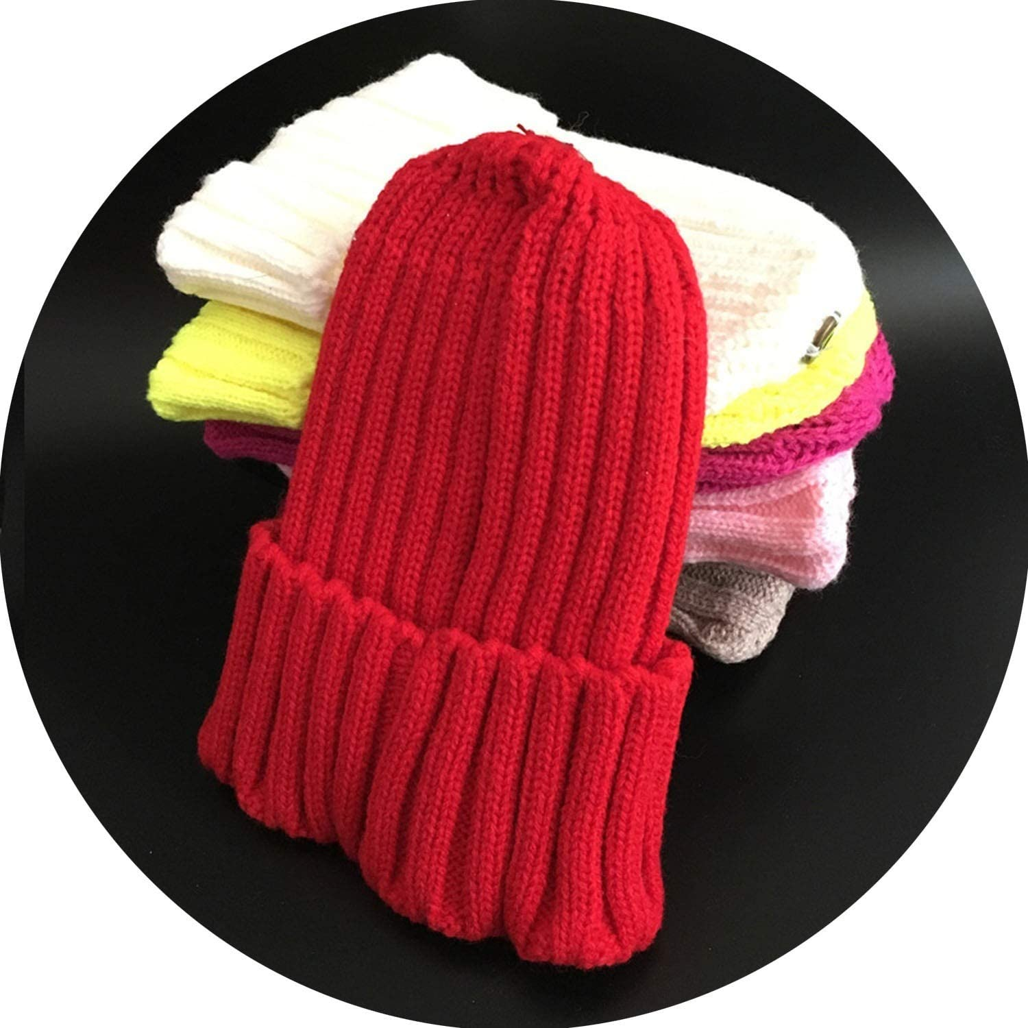 Female Fur Pom Poms hat Winter Hat for Women Girl s Hat Knitted Beanies Cap Hat,red,Kid Size