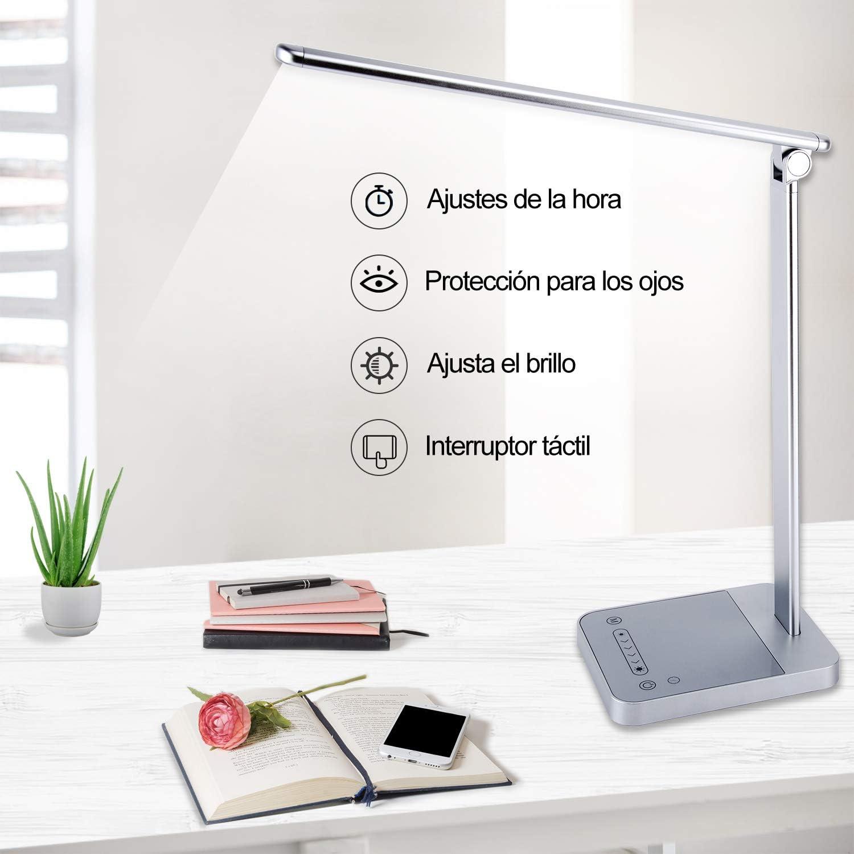 Lámpara escritorio LED con 6 Niveles,Lámpara de Mesa 3 Modos del ...
