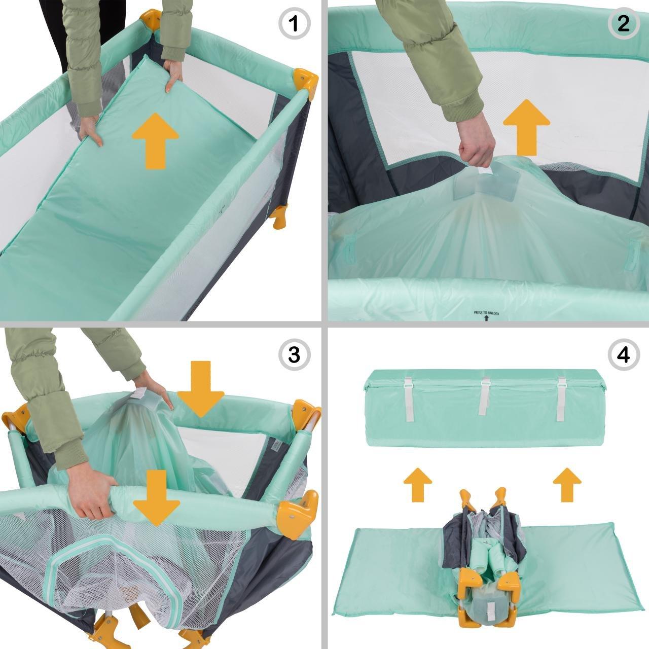 Froggy® Reisebett SAFARI Babybett Laufstall Laufstall Laufstall mit Schlafunterlage, Matratze, praktische Transporttasche, kompakt, 125 x 66 x 76 cm 116a3d