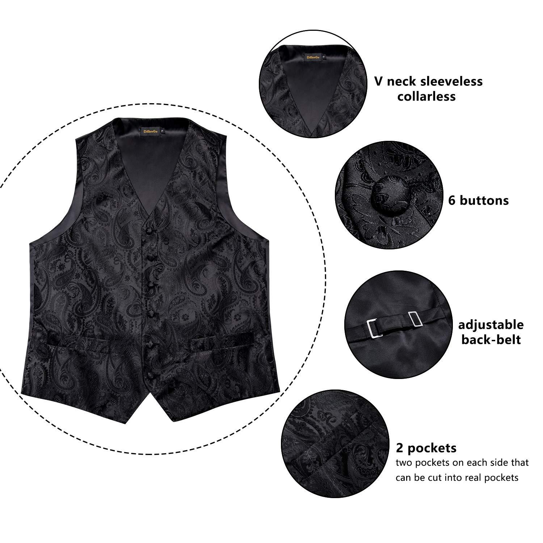 DiBanGu Mens Paisley Waistcoat and Necktie Pocket Square Cufflink Vest Suit Set for Tuxedo