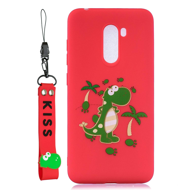Oso Rosa Everainy Funda Compatible para Xiaomi Pocophone F1 Silicona TPU Gel con cord/ón Cover para Xiaomi Pocophone F1 Bumper Ultrafina Goma Caso Caucho Antigolpes