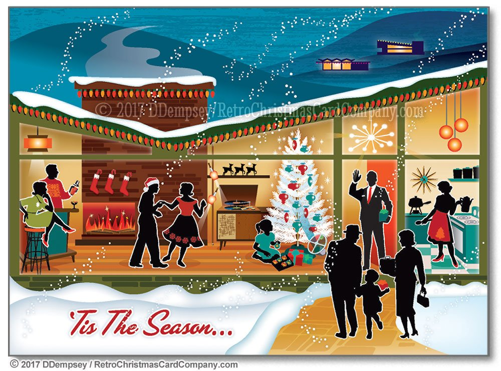 Amazon.com: Mid Century Modern House Christmas Cards, Package of 8 ...