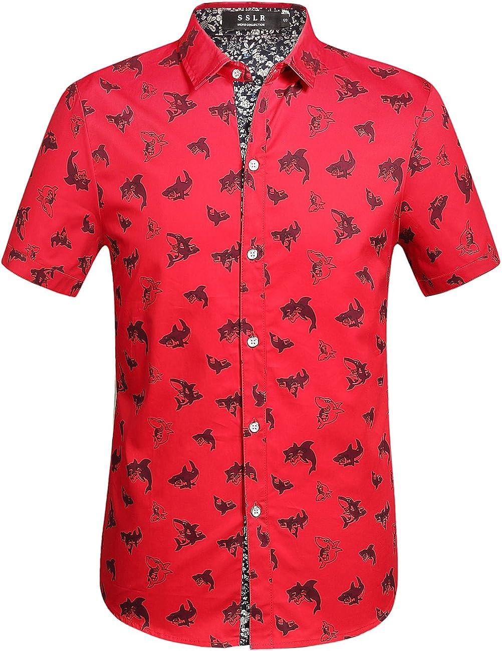 SSLR Men's Shark Printed Casual Button Down Short Sleeve Shirt