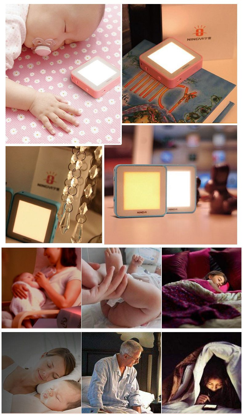 First O-Lite Baby Night Light, USB Rechargeable Cute Design OLED Night Lamp with with Music, Brightness Adjustment, Vibration Control for Bedroom, Baby Nursery, Adults-Blue Warm White Light by Frist O-Lite (Image #5)