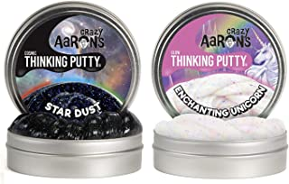 "product image for Crazy Aaron's Thinking Putty 4"" Tin Double Pack (6.4 oz) - Cosmic Star Dust and Enchanted Unicorn - Glow-in-The-Dark and Multi-Color Sparkle Glow Putty - Never Dries Out"