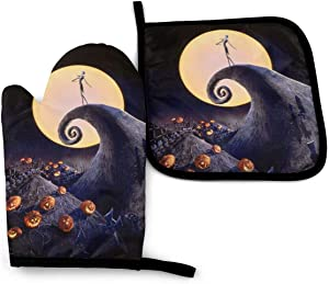 CAMEKSI Heat Resistant Oven Mitts Set The Nightmare Before Christmas with Hanging Loop to Protect Hands and Surfaces for Kitchen Cooking Grilling BBQ