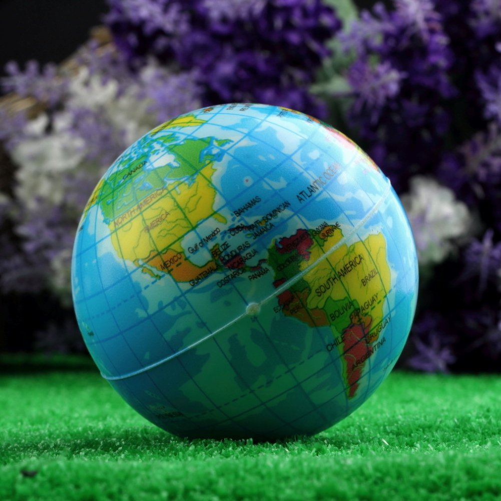 2.36 Inch World Map Foam Earth Globe Stress Relief Bouncy Ball Atlas Geography Toy