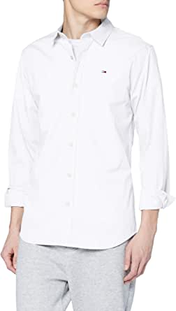 Tommy Jeans Original Stretch Camisa, Blanco (Classic White 100), X-Small para Hombre